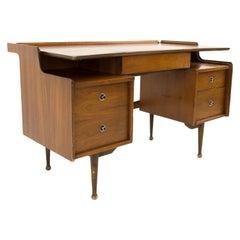 Mainline by Hooker Mid Century 2 Sided Floating Walnut Executive Desk