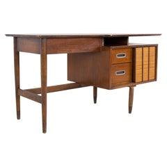 Mainline by Hooker Mid Century Walnut and Rattan Reversible Door Floating Desk