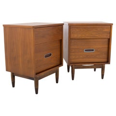 Mainline by Hooker Mid Century Walnut and Stainless Nightstands, a Pair