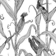 Mais-Black on White-Corn Printed Wallpaper