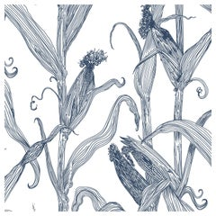 Mais-Blue on White-Corn Printed Wallpaper
