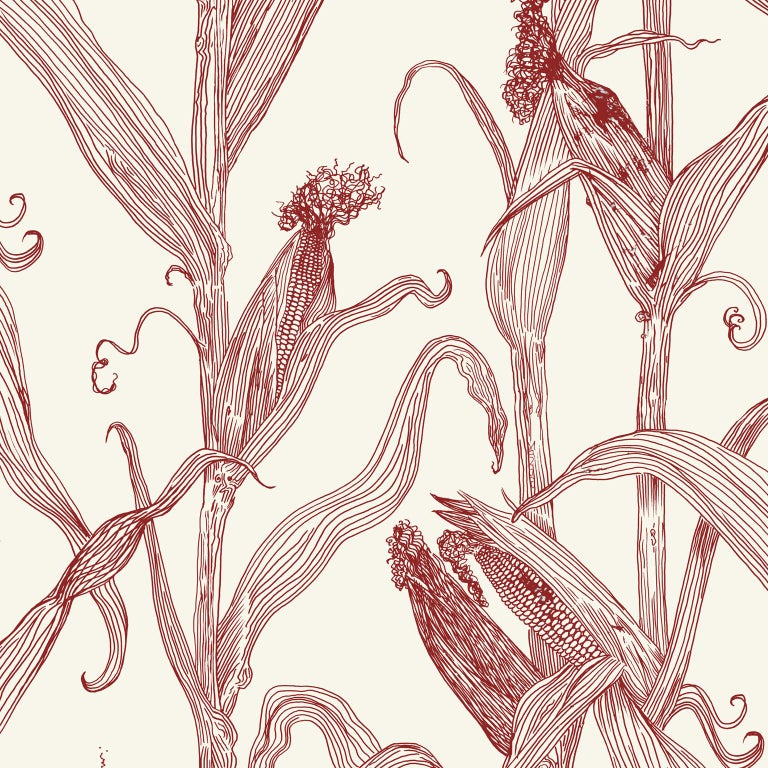 Post-Modern Mais-Green Leaf on Pink-Corn Printed Wallpaper For Sale