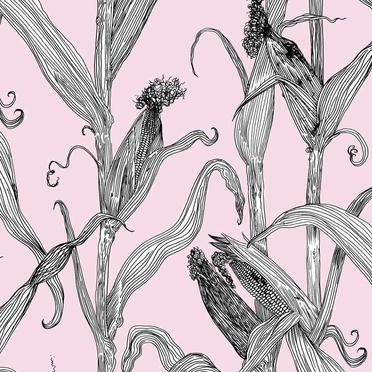 Mais-Green Leaf on Pink-Corn Printed Wallpaper For Sale 1