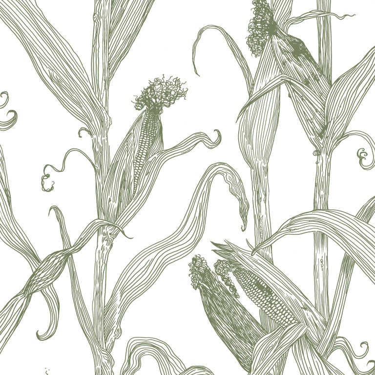 Mais-Green Leaf on Pink-Corn Printed Wallpaper For Sale 2