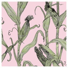 Mais-Green Leaf on Pink-Corn Printed Wallpaper