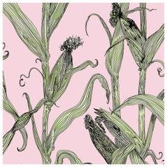 Mais-Green Leaf on Pink-Corn Printed Wallpaper