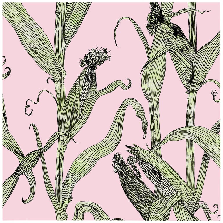 Mais-Green Leaf on Pink-Corn Printed Wallpaper For Sale