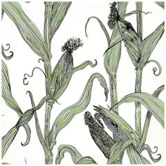 Mais-Green Leaf on White-Corn Printed Wallpaper
