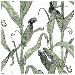 Mais-Green Leaf on White-Corn Printed Wallpaper