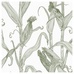 Mais-Green on White-Corn Printed Wallpaper