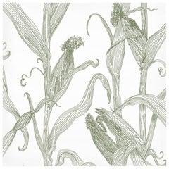 Mais-Green on White-Corn Printed Wallpaper
