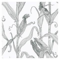 Mais-Grey on White-Corn Printed Wallpaper