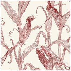 Mais-Red on Cream-Corn Printed Wallpaper