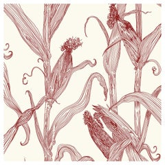 Mais-Red on Cream-Corn Printed Wallpaper