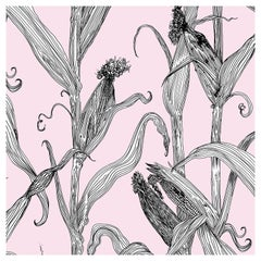 Mais-White Leaf on Pink-Corn Printed Wallpaper