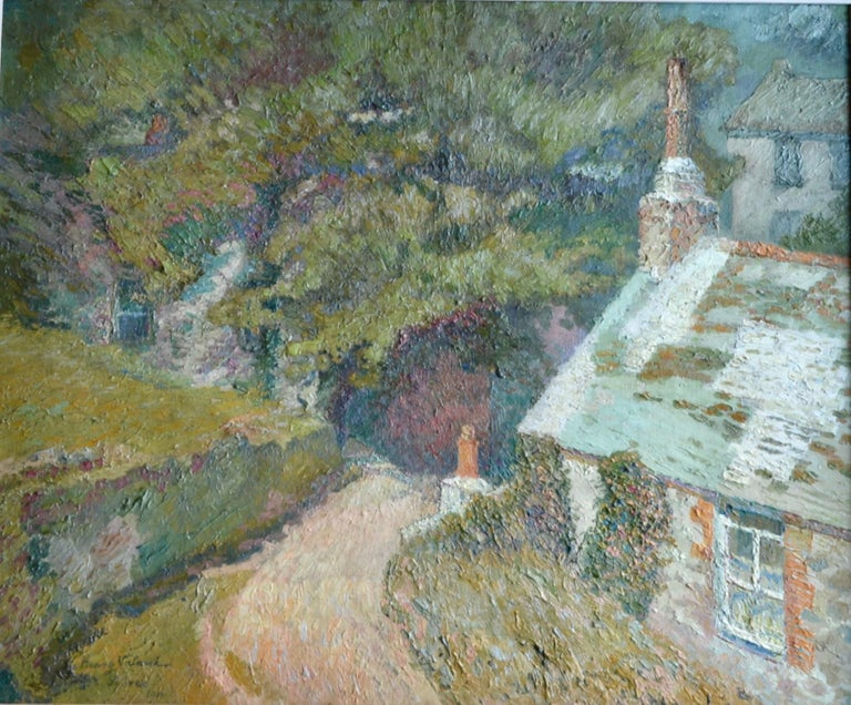 Other Maison a la Fleurie, St Ives 20th Century French Impressionist Oil Painting For Sale