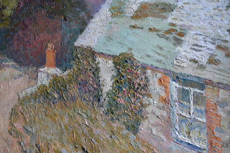 Brushed Maison a la Fleurie, St Ives 20th Century French Impressionist Oil Painting For Sale