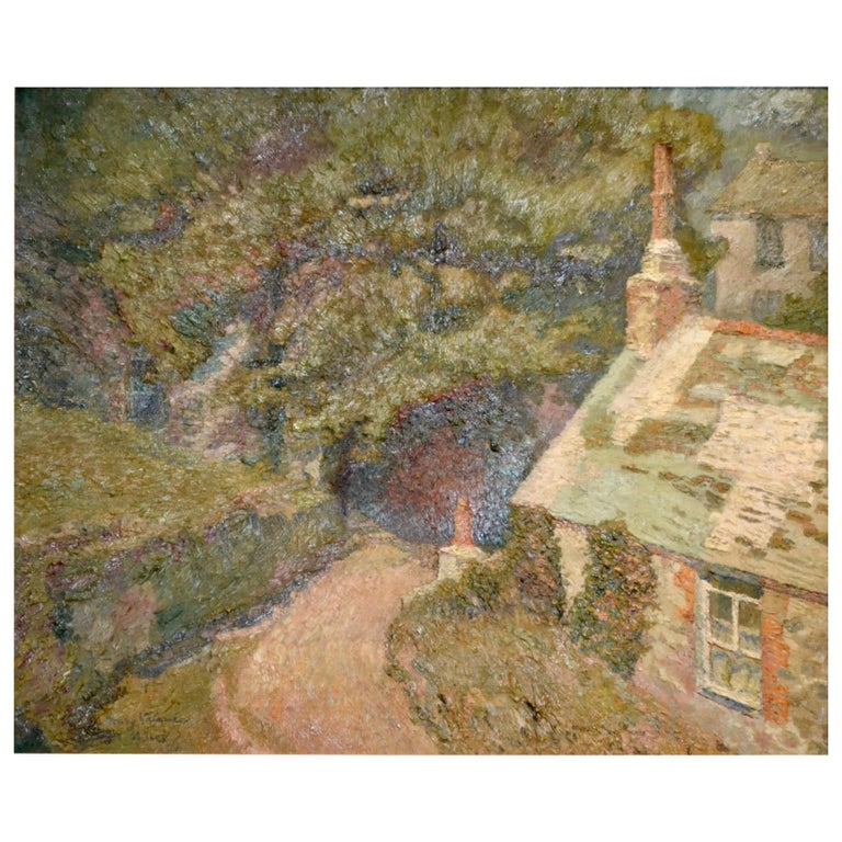 Maison a la Fleurie, St Ives 20th Century French Impressionist Oil Painting For Sale