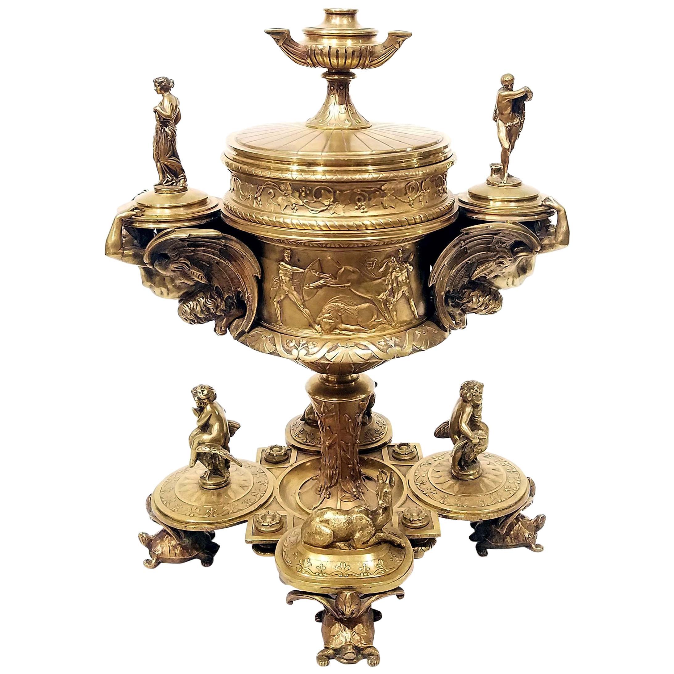 Maison Alphonse Giroux Bronze Cigar Container, 19th Century
