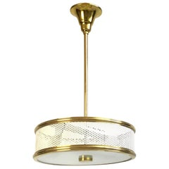 White and brass Maison Arlus Ceiling Light Attributed to Pierre Guariche 1950s