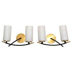 Maison Arlus 2 Light Sconce Brass Steel & Cylinder Opaline Shade Art Deco, Pair