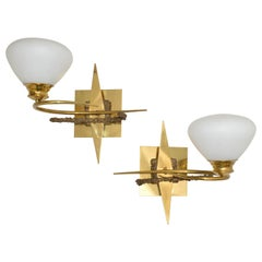 Maison Arlus Brass, Bronze Sconces, Wall Lights with Cone Opaline Glass Shade