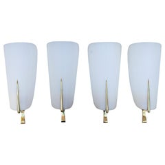 Maison Arlus Brass Perspex Wall Sconces Lamp Set of 4