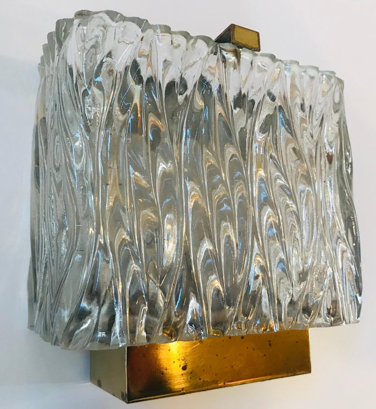 Maison Arlus French 1960s Glass Wall Light For Sale 7