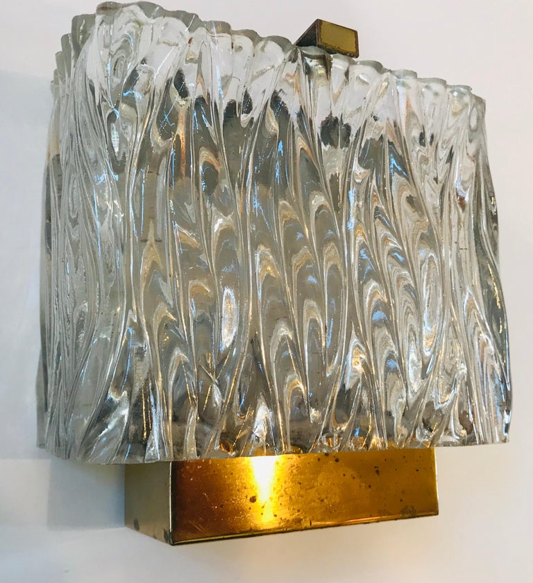 Mid-Century Modern Maison Arlus French 1960s Glass Wall Light For Sale
