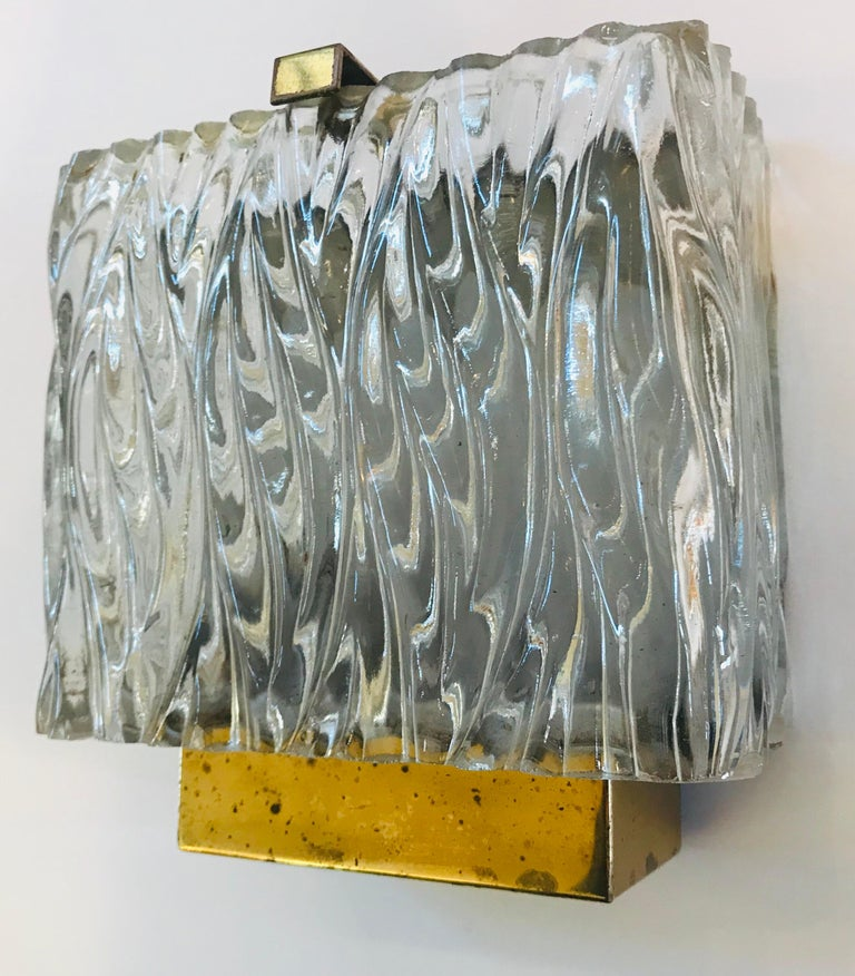 Brass Maison Arlus French 1960s Glass Wall Light For Sale