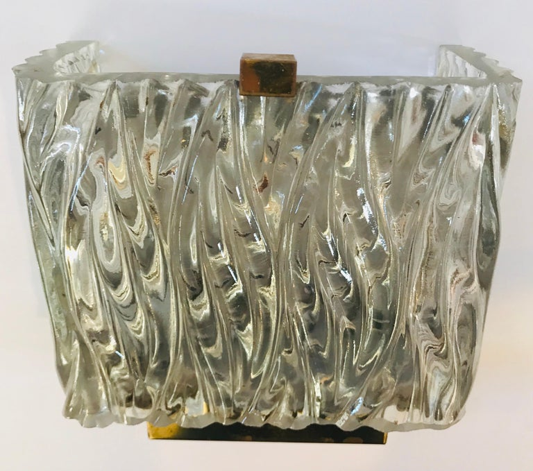 Maison Arlus French 1960s Glass Wall Light For Sale 3