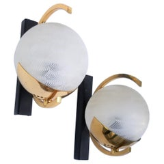 Maison Arlus French Brass Modernist Pair of Sconces