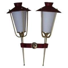 Maison Arlus French Red and Brass did century Wall Sconces