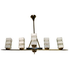 Maison Arlus Mid-Century Modern France Brass and Glass Chandelier, 1950s