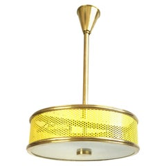 Maison Arlus Yellow Perforated Ceiling Light Attributed to Pierre Guariche 1950s