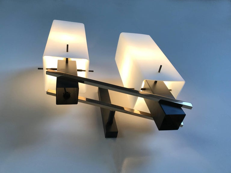 Maison Arlus, Pair of Double Sconces, France, 1960 For Sale 2