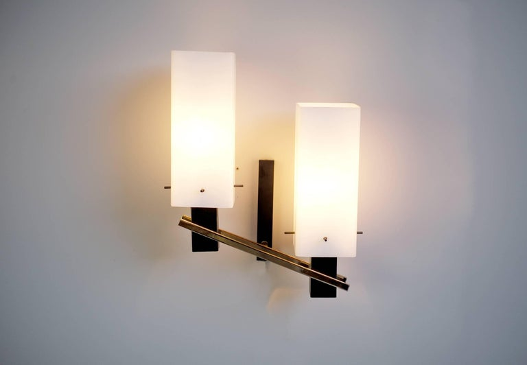 Mid-Century Modern Maison Arlus, Pair of Double Sconces, France, 1960 For Sale