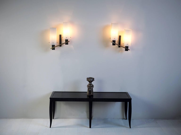 French Maison Arlus, Pair of Double Sconces, France, 1960 For Sale
