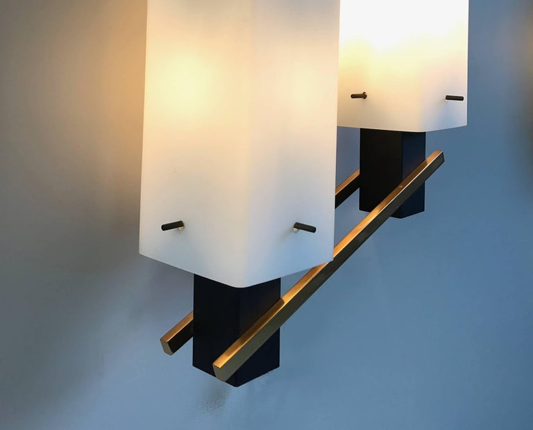 Mid-20th Century Maison Arlus, Pair of Double Sconces, France, 1960 For Sale