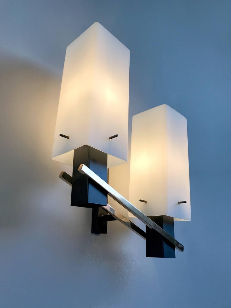 Metal Maison Arlus, Pair of Double Sconces, France, 1960 For Sale