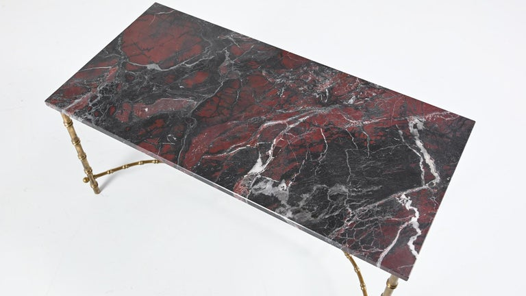 Maison Baguès, Ascribed to, Brass and Marble Coffee Table, C.1950 For Sale 4