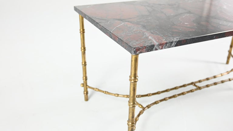 Maison Baguès, Ascribed to, Brass and Marble Coffee Table, C.1950 For Sale 5