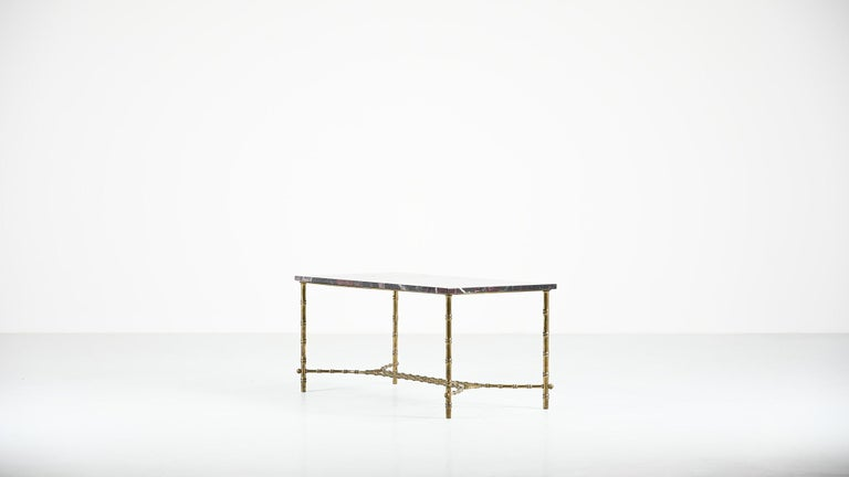 French Maison Baguès, Ascribed to, Brass and Marble Coffee Table, C.1950 For Sale