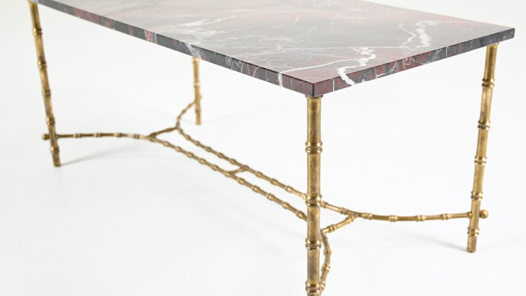Maison Baguès, Ascribed to, Brass and Marble Coffee Table, C.1950 In Good Condition For Sale In Munster, NRW