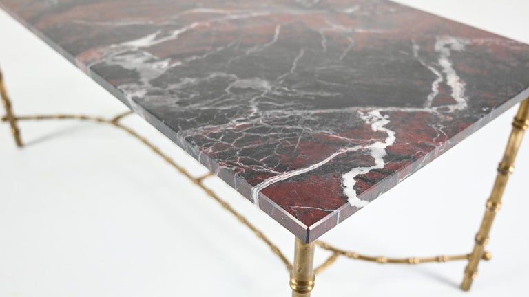 Mid-20th Century Maison Baguès, Ascribed to, Brass and Marble Coffee Table, C.1950 For Sale