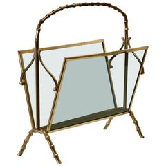 Maison Baguès Attributed Cast Brass Faux Bamboo Magazine Rack or Newspaper Stand