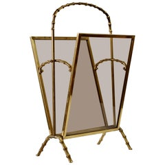 Maison Baguès Attr. Cast Brass Faux Bamboo Magazine Rack or Newspaper Stand