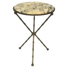 Maison Baguès attr. French Hollywood Regency Gueridon Table; Brass and Marble