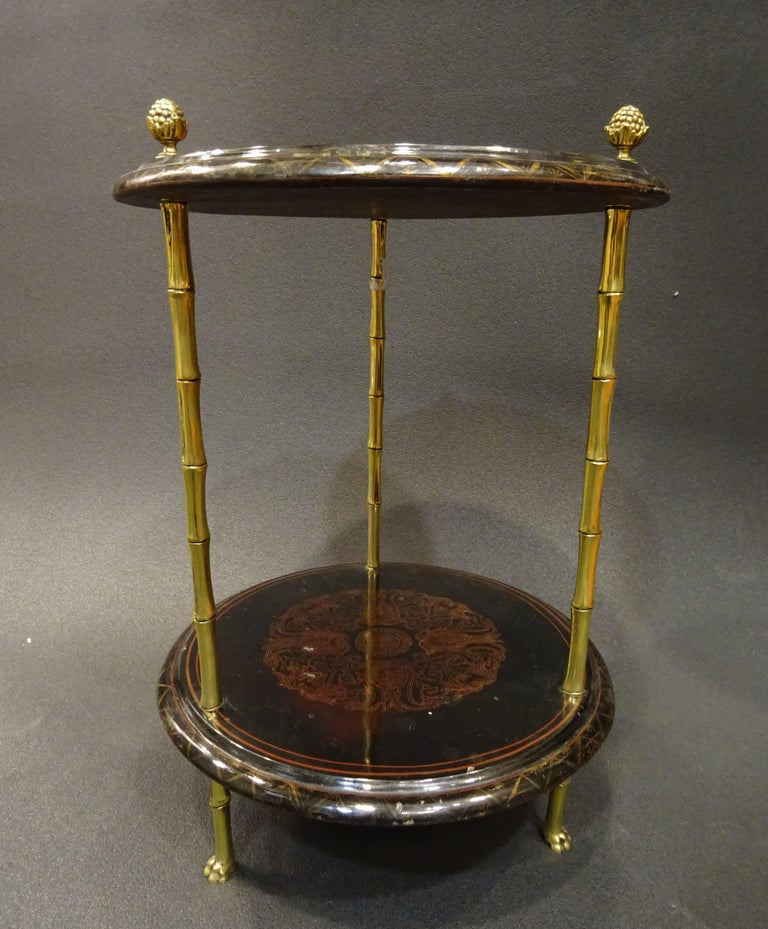 French Maison Bagues Black Endtable France, Chinoiseries, Gilt Bronce, 1970s For Sale