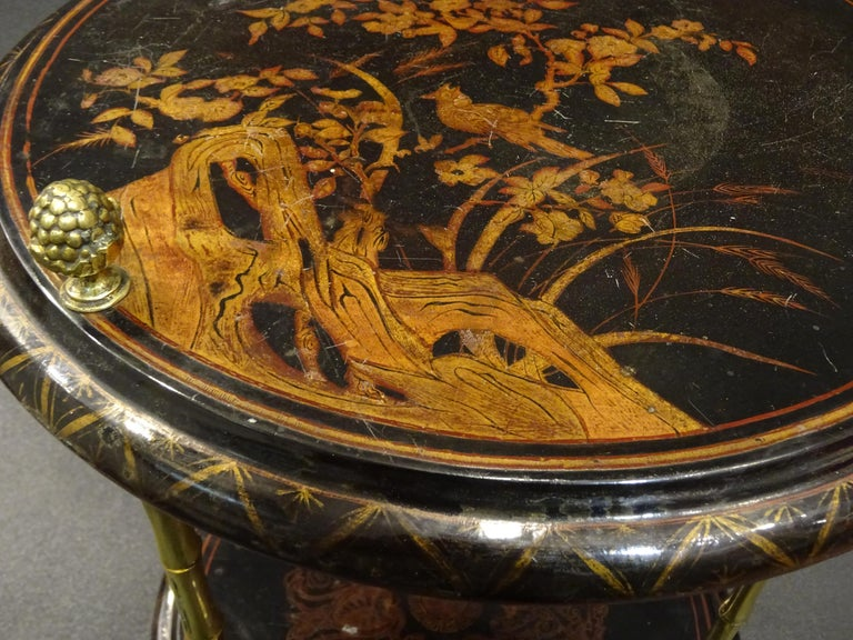 Late 20th Century Maison Bagues Black Endtable France, Chinoiseries, Gilt Bronce, 1970s For Sale